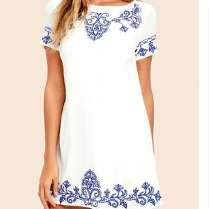 Lulu's White Dress Blue Embroidery Tale to Tell